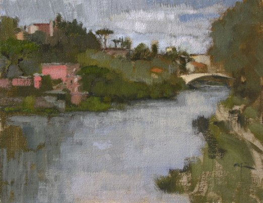 Lido At Ponte San Niccolo, oil on panel 11.5 x 9 inches