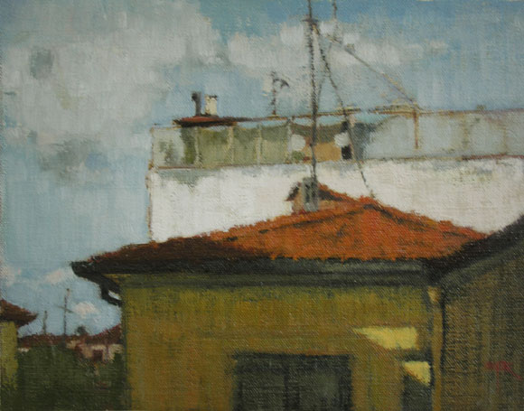 Rooftop Garden, oil on panel 9 x 11.75 inches