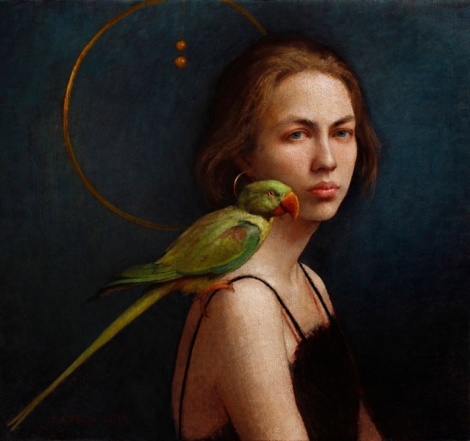"""Girl and Her Parrot,"" 23.5 x 25.5, oil on canvas"