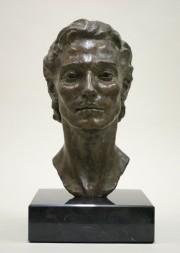 """Finalist in Sculpture Category-- """"Zach,"""" 8 x 16 x 9.5 , bronze"""