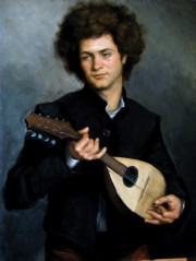 "Finalist in Figurative Category-- ""The Mandolin Player,"" 27x35, oil on linen"