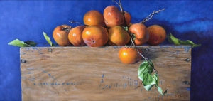 "Finalist in Still Life Category-- ""Persimmons on a Wooden Crate,"" 12x24, oil on canvas"