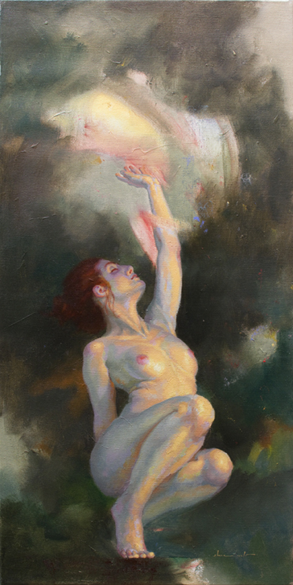 """Tempest,"" 31.5x15.75, oil on canvas"