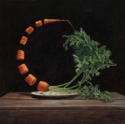 "Finalist in Still Life Category-- ""Carrot-O,"" 20x20, oil on panel"