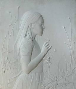 "Finalist in Sculpture Category-- ""Chloe,"" 17 x 19.5 x .5, marble"