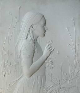 "Finalist in Sculpture Category-- ""Chloe,"" 17 x 19.5 x .5, marble"