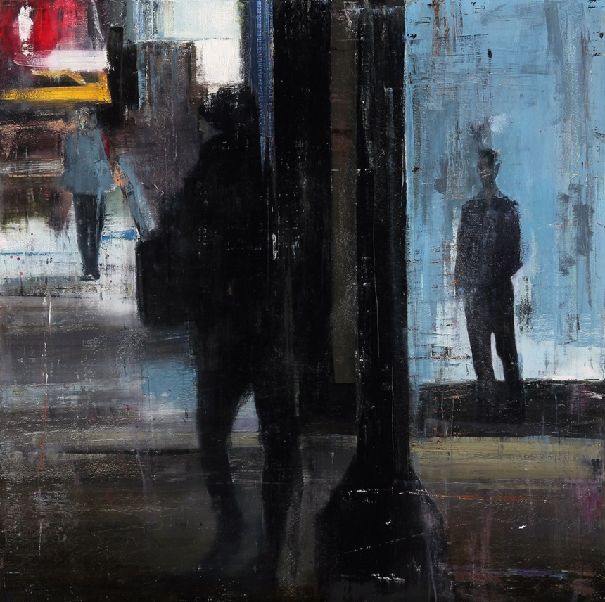 """""""Waiting 212,"""" 36x36, oil on wood"""