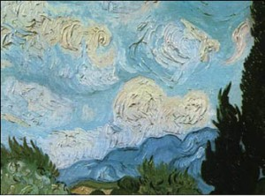 Detail of a Van Gogh painting showing the impasto technique