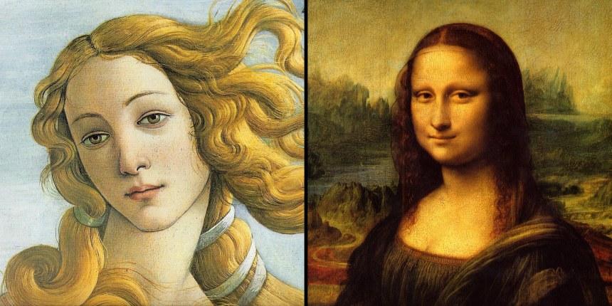 "(Left) crop of Sandro Botticelli's ""Birth of Venus"", (Right) crop of Leonardo da  Vinci's ""Mona Lisa"""