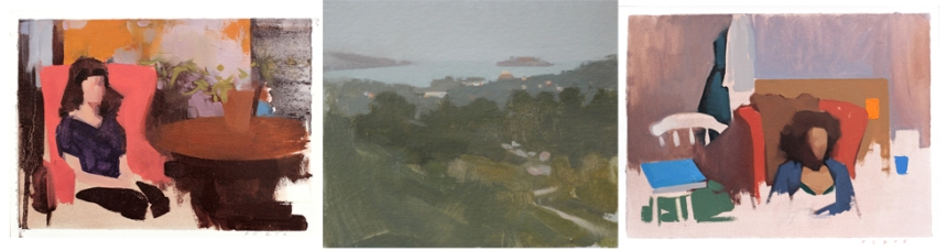 """Paintings by Felicia Forte Left to right: """"Mary and Mr. Midnight,"""" """"View to Alcatraz,"""" and """"Pigeon with Brown Coat"""""""