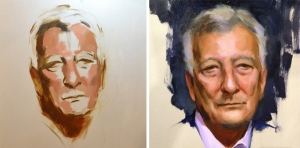 Mia Bergeron's portrait of Franco Landini, in the early stages (left) and as a finished work (right)