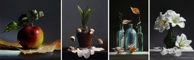 "Works by Larry Preston Left to right: ""The Apple,"" ""Egg Plant,"" ""Old Bottles,"" and ""Green Vase Amaryllis"""