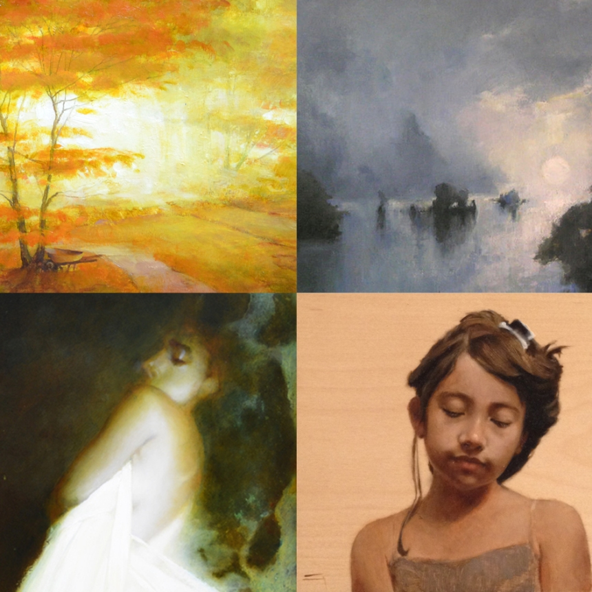 "(upper left) crop of Martin Poole's ""First Fall,"" (upper right) crop of Paula Rubino's ""Wu Wei"", (lower left) crop of Martin Poole's ""Pisces Moon 1"", (lower right) Lisa Gloria's ""Angel"""