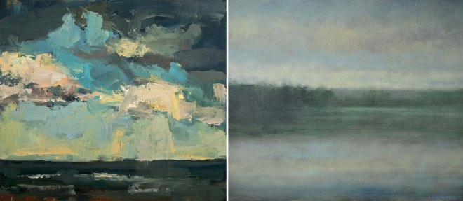 "(left) Lisa Noonis, ""Rain Likely""; (right) Kevin Fitzgerald, ""River Clouds"""