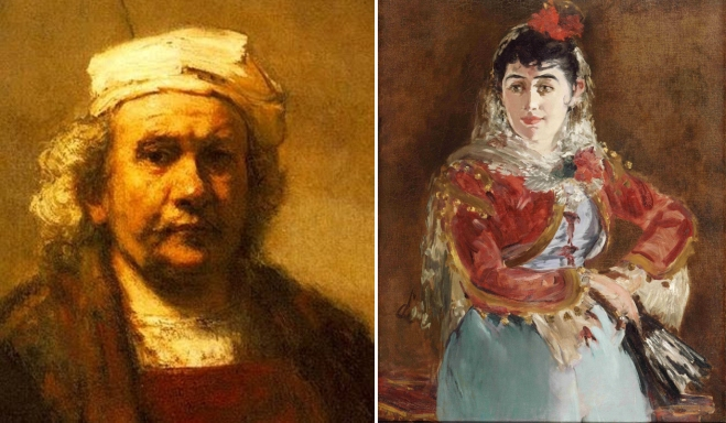 "(left) detail of self portrait by Rembrandt van Rijn in 1661; (right) Edouard Manet, ""Emilie Ambre as Carmen"", 1880"