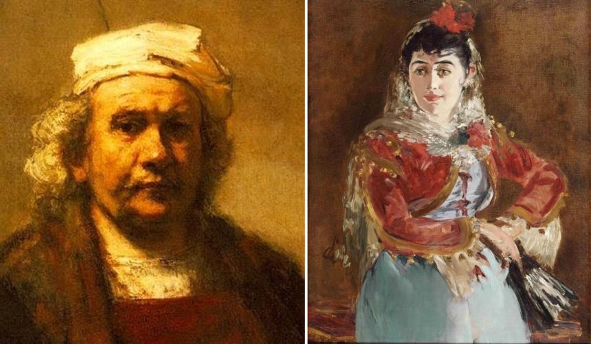 """(left) detail of self portrait by Rembrandt van Rijn in 1661; (right) Edouard Manet, """"Emilie Ambre as Carmen"""", 1880"""