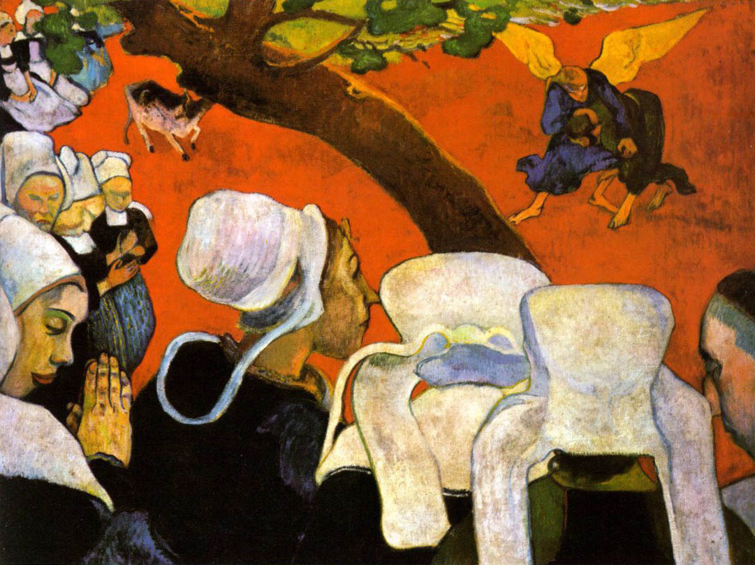 Color vision art - 1888 Paulgauguin Vision_after_the_sermon Jacobs_struggle_with_the_angel