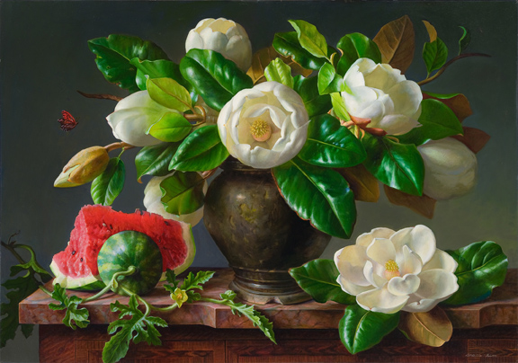 Grace_Kim_ Butterfly Magnolia and Watermellon_24x30_Oil on Linen_72