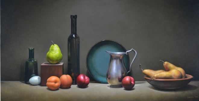 Trish Coonrod - Still Life with Blue Plate and Blue Egg - 24x48 - oil72