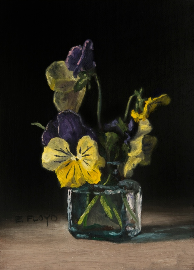 Pansies by Elizabeth Floyd, oil on linen panel, 7x5 inches