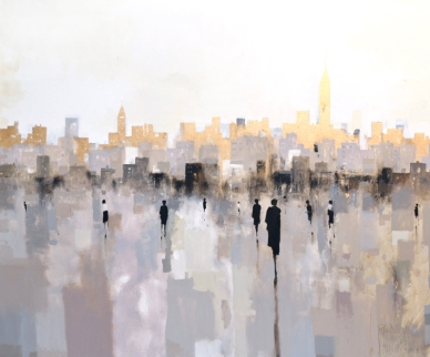 "figure. 22 ""City Skyline Gold"" 48x60, oil on canvas by Geoffrey Johnson - available at Principle Gallery"