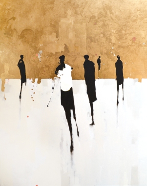 "figure. 19 ""Gold & Black IV"" 60x48, oil on canvas by Geoffrey Johnson - available at Principle Gallery"