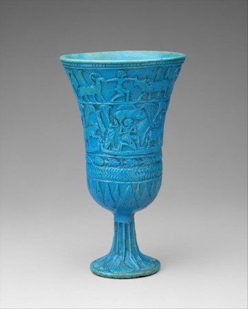 Lotiform Chalcie, Egypt, ca. 945-664 BC; Faience