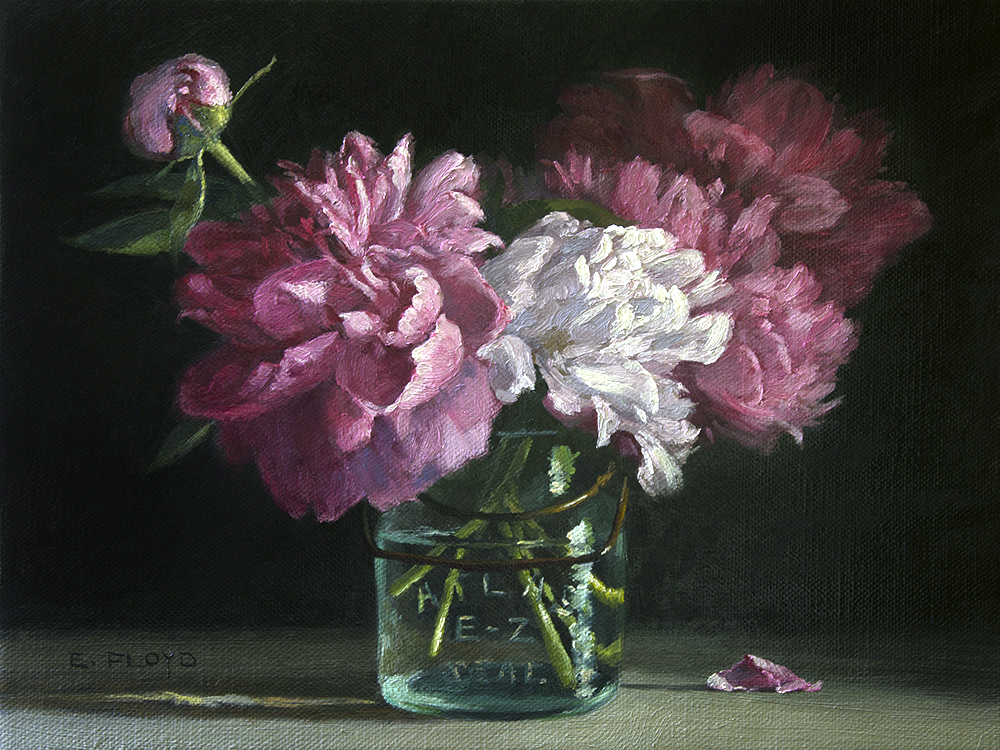 Peonies in Canning Jar